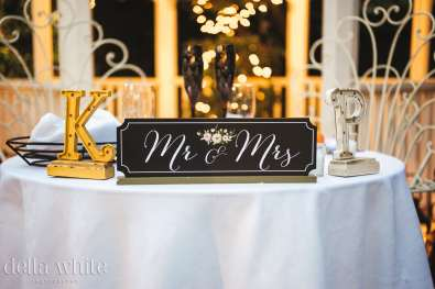 Mr & Mrs table sign at a wedding