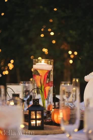 outdoor evening wedding reception