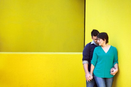 los angeles engagement session in downtown