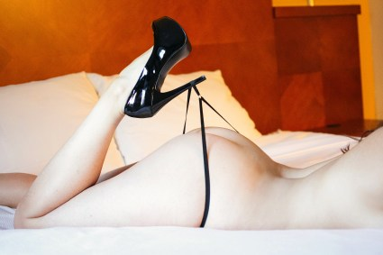 boudoir photo of thong on high heel