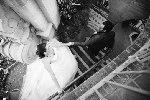 leading bride down the stairs