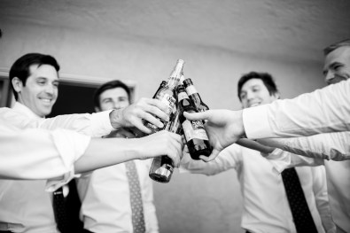 groomsmen having a beer