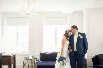 portrait of bride and groom in culver hotel