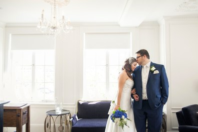 portrait of bride and groom in culver hotel