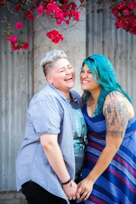 lgbtq engagement session in la arts district