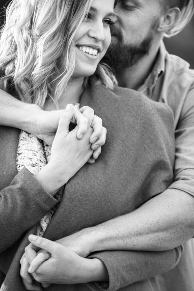 close up of engaged couple in joshua tree