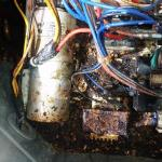 Mouse damage in the air conditioning unit