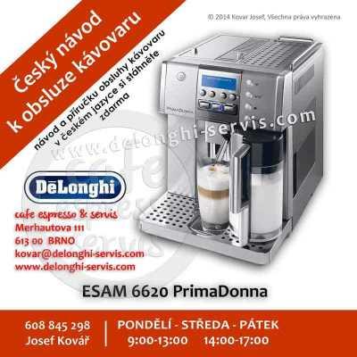 Manuál, návod a příručka obsluhy CZ v českém jazyce pro automatický espresso kávovar DeLonghi