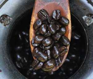 Tmavě pražená kávová zrnka na stupeň Dark