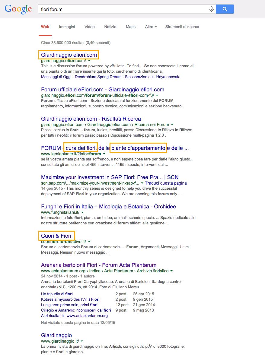 ricerca google keyword forum