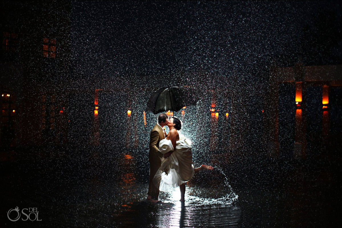 Dreams Tulum best wedding photographers epic rain photo