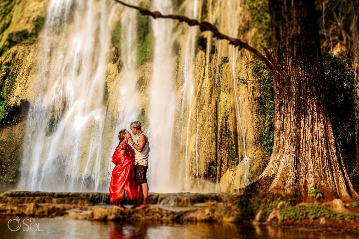 Elopement ideas for adventurous Couples waterfall Ceremony