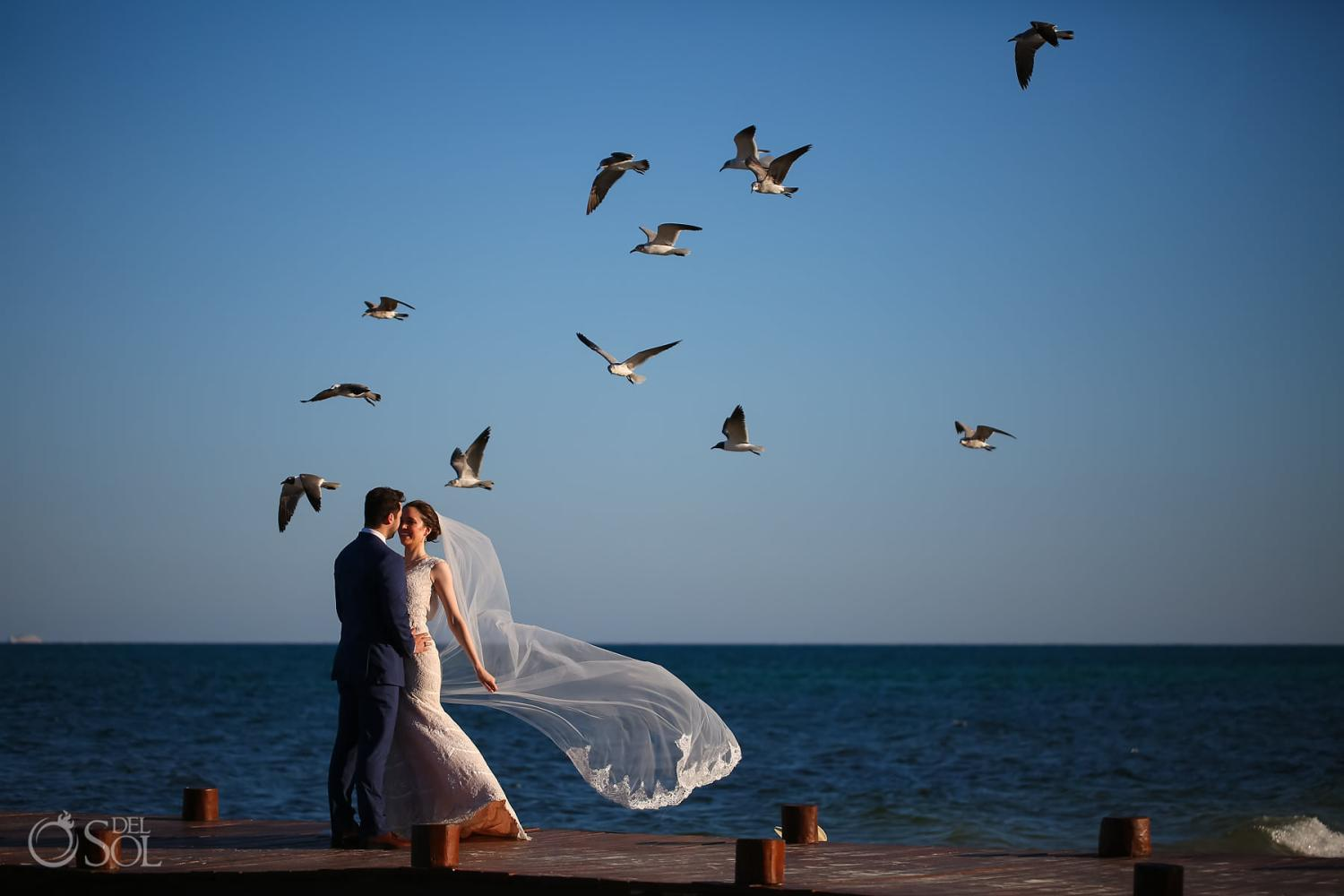 All inclusive resort elopement ideas bride with long veil surrounded by birds