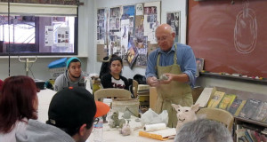 SCULPTING STUDENTS: Joe Mariscal instructs his ceramics class. PHOTO BY ORLANDO JOSE