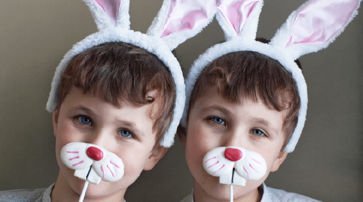 Two boys model their homemade bunny masks. Bunnies need a variety of nutrients and textures in their meals just like us so they can maintain their oral and overall health.