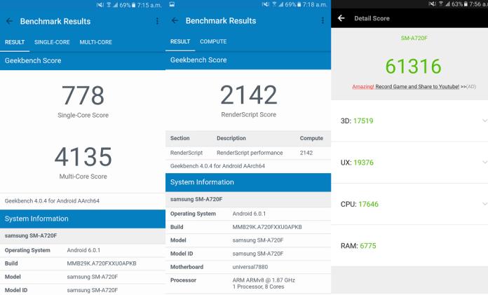 Samsung Galaxy A7 benchmark result