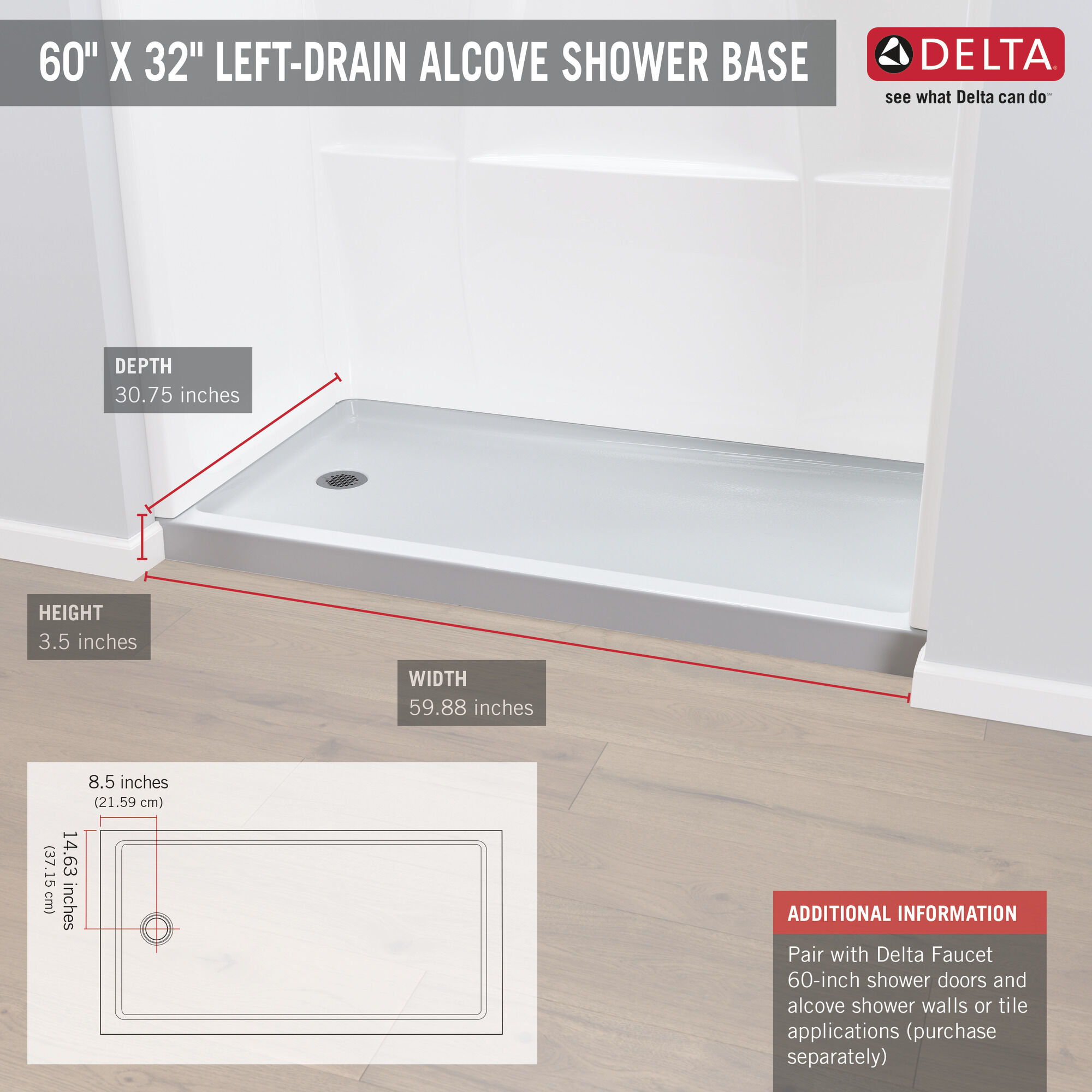 60 x 32 shower base left drain