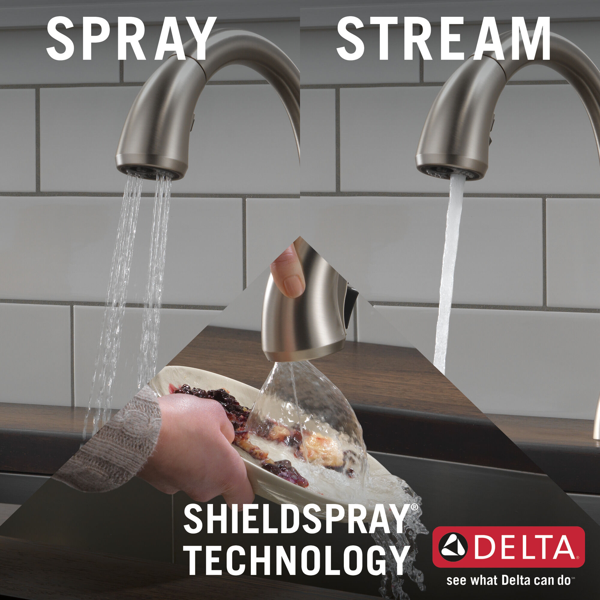 single handle pull out kitchen faucet with soap dispenser and shieldspray technology