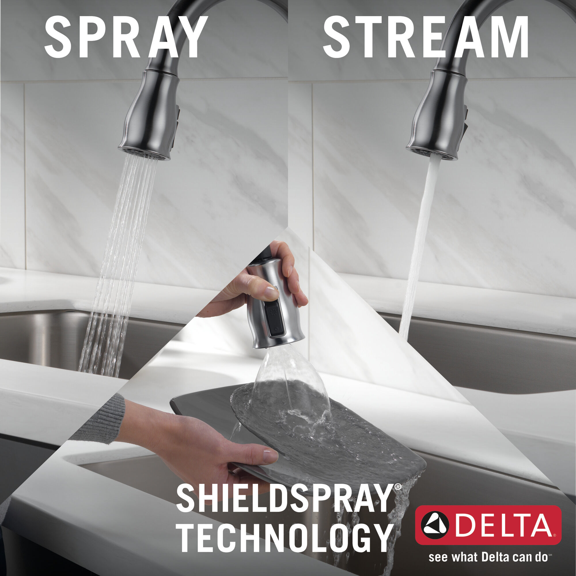 single handle pull down kitchen faucet with shieldspray technology