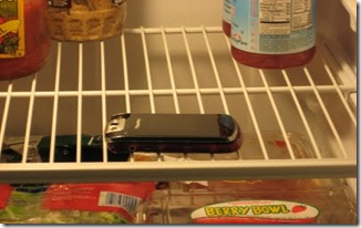 phone in the fridge