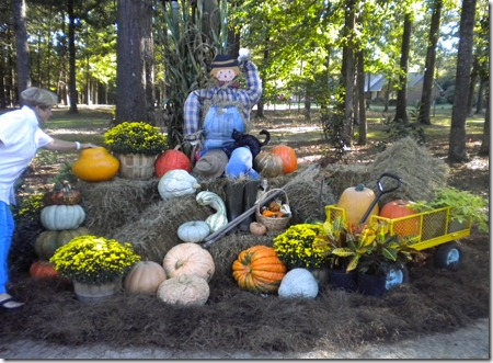 Gloria's fall decorations, Lucy too 009