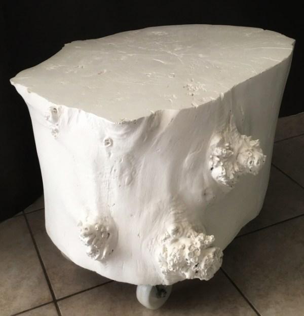 Bois flotté. Table basse platane blanche sur roulettes 2019