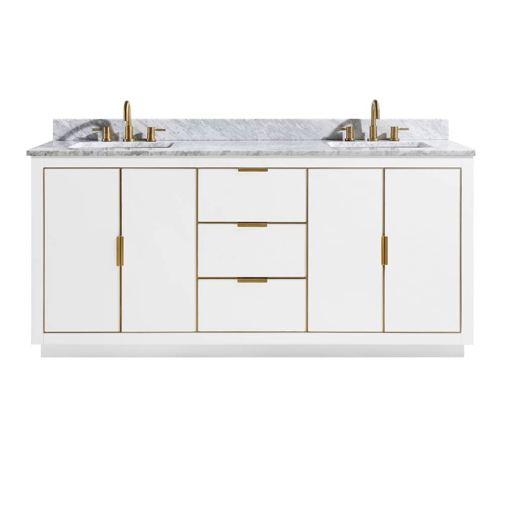 avanity austen 73 in vanity combo in white with gold trim and carr