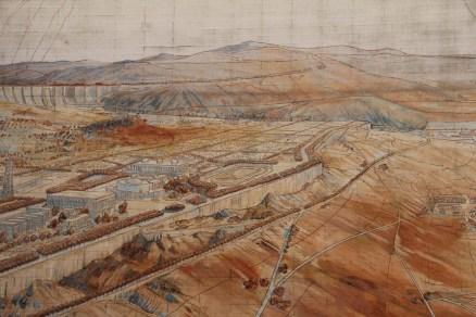 Détail de fresque représentant la Cité industrielle rêvée par Tony Garnier.