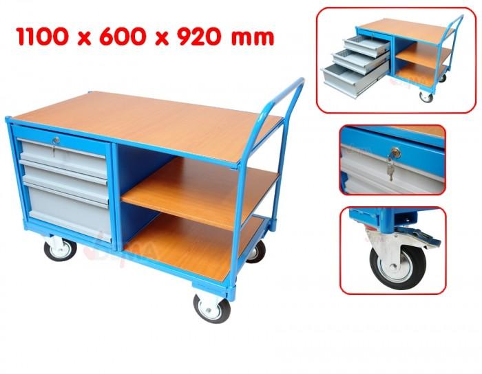 chariot de manutention avec 3 tiroirs etageres et plan de travail