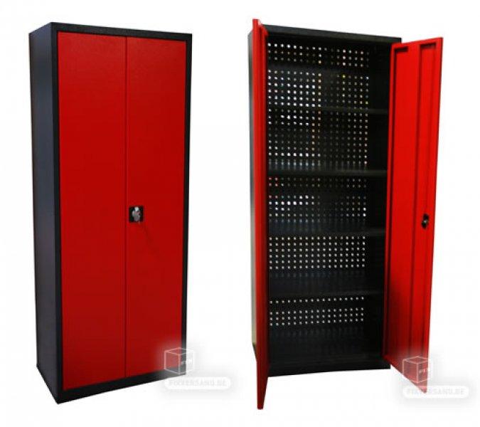 armoire de rangement arriere perfore rouge