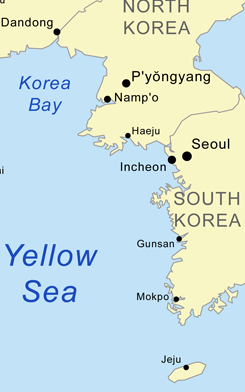 The Yellow Sea between North and South Korea