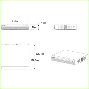 DVR 5EN1 H265 4 canaux 1080N / 720P @ 25ips + 1IP 2MP 1HDMI 1HDD Alhua