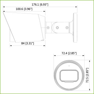 Tubulaire HDCVI 4EN1 2M 1080P Alhua MICRO AUDIO