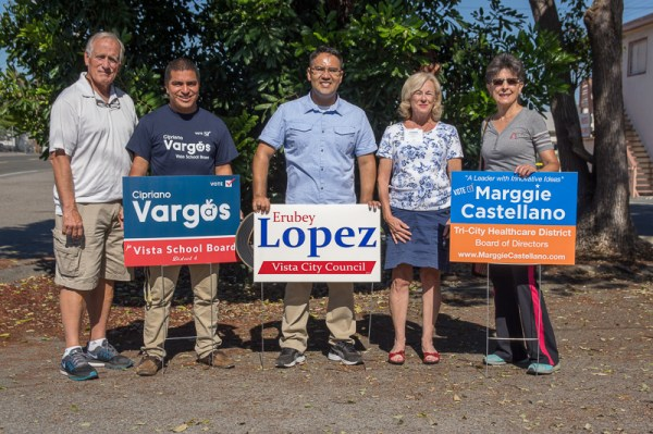 The Democratic Club of Vista hosted a multi-candidate canvassing event in Vista on October 1, 2016 with candidates Rich Alderson for Vista School Board, Cipriano Vargas for school board, Erubey Lopez for Vista City Council, Donna Rencsak for Tri-City Hospital Board and Marggie Castellano for Tri-City Hospital Board.
