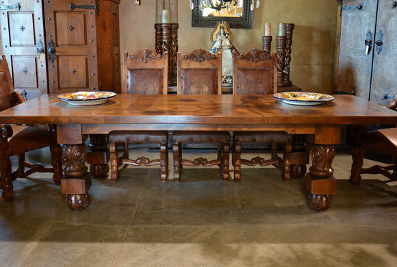 Spanish Revival Dining Table Carved Mesa Patona Demejico