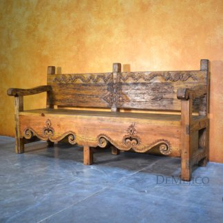 Banca Guadalajara, Spanish Colonial Bench, Spanish Carved Bench, Outdoor Patio Bench