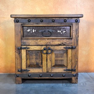 Tooled leather nightstand