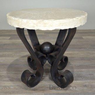 White Portfirio End Table, Spanish Chiseled Travertine End Table