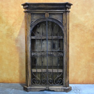 Old World Armoire with Iron Doors, Tall Iron Door Cabinet, Wine Cabinet, Large Spanish Armoire, Rustic Armoire
