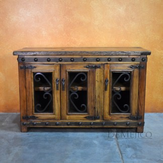 Small Alamo TV Stand, Spanish TV Console, Old Wood TV Stand