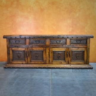 Long Antigua Buffet, Metal Buffet Table, Spanish Buffet Table