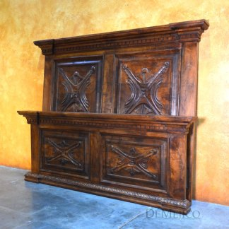 Luis Quince Chapital Bed, Colonial Headboard, Spanish Bed