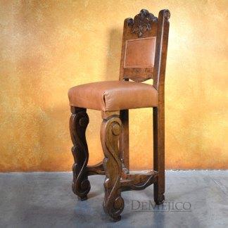 Hoja Barstool, Hand Carved Spanish Barstools