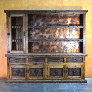 Custom Antigua Bar, Old World Spanish Bar, Copper Bar Cabinet