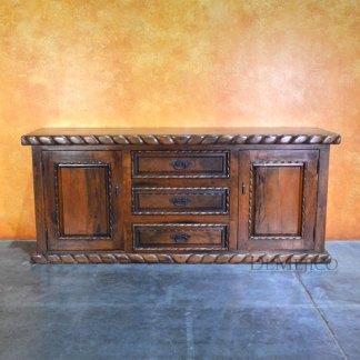 Small Chapital Buffet Cabinet, Spanish Mesquite Buffet Cabinet