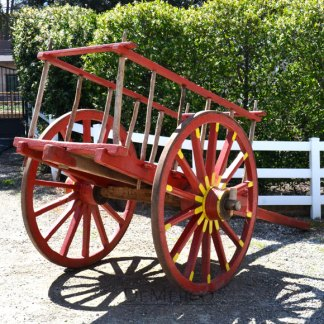 Red Antique Wagon, Mexican Antique, Antique Donkey Wagon