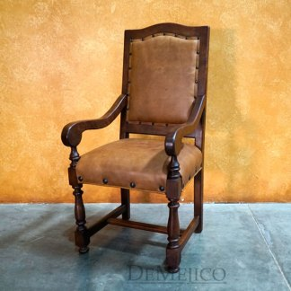 Spanish Leather Chair, Silla Casa Mexicana with Arms