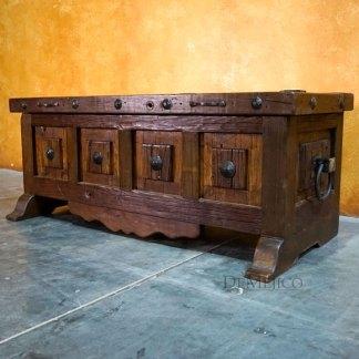Old Wood Valentina Storage Bench, Spanish Carved Bench, Foyer Bench