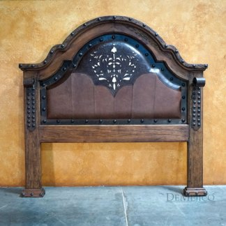 Alamo Mediterranean Bed with Tooled Leather