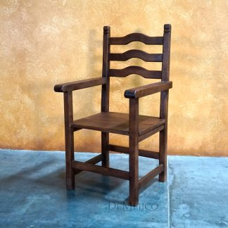 Spanish Wood Ladder Chair, Silla Teco with Arms